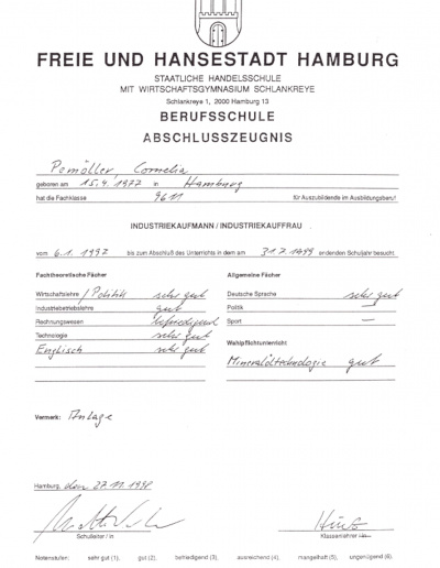 Zertifikat - Industriekauffrau