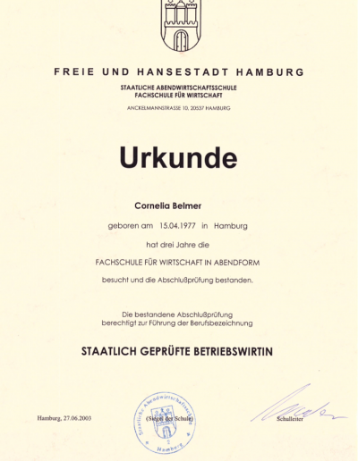 Zertifikat - Betriebswirtin