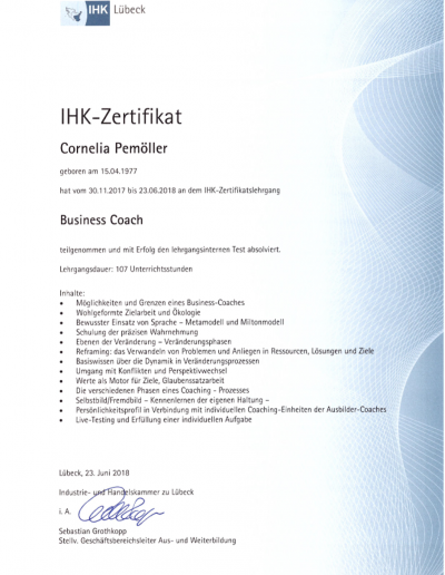 Zertifikat - Coach (IHK Business Coach)