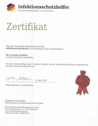 Zertifikat - Infektionsschutzhelferin