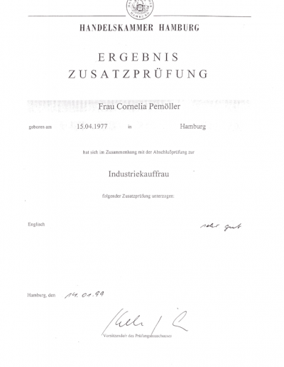 Zertifikat - Industriekauffrau_